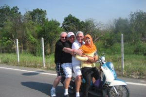 Some of Grahams friends on a caddie's motorbike