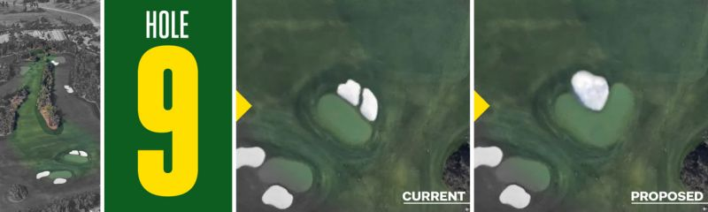 Tom Doak's ninth hole revision, as it would appear in satellite images.