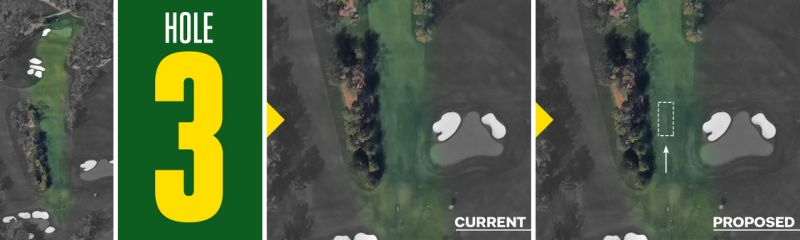 David McLay Kidd's revised third hole, with tees pushed forward, as it would appear in satellite images.