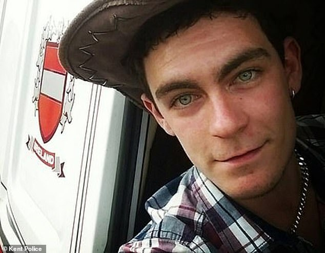 The victims had died up to 12 hours before driver Maurice Robinson (pictured), 25, hitched it to his Scania cab in Essex